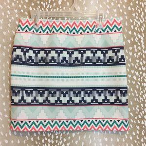 Zara Trafaluc Aztec Tribal Print Mini Skirt
